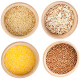Collection of cereals in the wooden bowl Royalty Free Stock Image