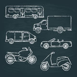 Set of transport sketches on chalkboard Royalty Free Stock Photography