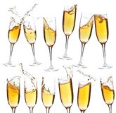 Collection of champagne glasses Royalty Free Stock Photo