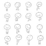 Collection characters emotions Doodle. Funny cute little men on a white background Doodle Stock Image
