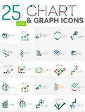 Collection of chart logos. Collection of linear abstract logos - chart and graph icons - clean geometric symbols. Growing stats finance concepts, clean modern Stock Image