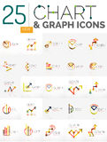 Collection of chart logos. Collection of linear abstract logos - chart and graph icons - clean geometric symbols. Growing stats finance concepts, clean modern Stock Images