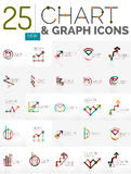 Collection of chart logos. Collection of linear abstract logos - chart and graph icons - clean geometric symbols. Growing stats finance concepts, clean modern Royalty Free Stock Photos