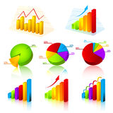 Collection of charts. Business 3d colorful chart collection Stock Image
