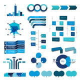 Collection of charts, graphs, flowcharts. Infographics in blue color. Royalty Free Stock Photo