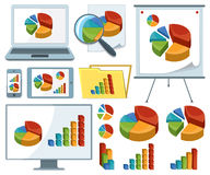 Collection Of Charts Icons. Icons of various charts, diagrams and graphs with monitor, laptop, folder, board and mobile devices Stock Image