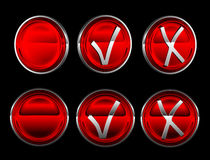 Collection of check or mark buttons over black Stock Image