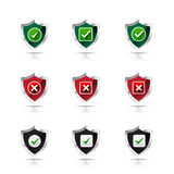 Collection of check mark and wrong mark with shield icon, design Royalty Free Stock Images