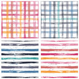 Collection of checkered and striped seamless patterns. Collection of checkered and striped hand painted textured seamless pattern. Four shabby endless country Stock Photo
