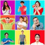 Collection of cheerful youngsters Stock Images