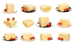 Collection of cheese isolated on a white background Stock Photos