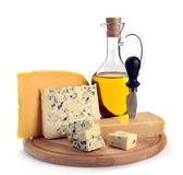 Collection of cheeses and olive oil Stock Photo