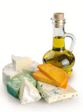 Collection of cheeses and olive oil Royalty Free Stock Photo