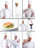 Collection of chef and food Royalty Free Stock Images