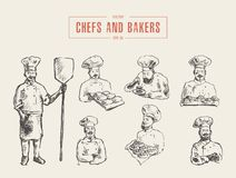 Collection chefs bakers hand drawn vector sketch stock illustration