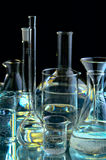 Collection of the chemical flasks. On black background stock photo