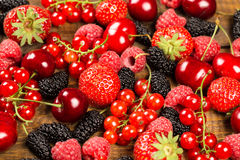 Collection of cherries, strawberries, mulberries, red currants,. Raspberries for background Stock Photo