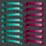 Collection of the cherry and green ribbons with ci Royalty Free Stock Image