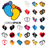 Collection of child or toddler's colorful pair of footprints - v Royalty Free Stock Images