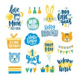 Collection of childish lettering written with beautiful calligraphic fonts decorated with funny cartoon design elements. Bundle of decorative birthday wishes Stock Photo