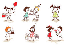 Collection - children celebrate birthday Stock Photos