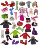 Collection of children clothes. Collection of winter children clothes Royalty Free Stock Photo