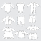 Collection of children clothes, vector illustration of baby sleepwear and outfits for boy and girl Royalty Free Stock Image