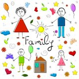 Collection of children drawings. Happy family. Vector Illustration. Collection of children drawings. Happy family. Vector Illustration Royalty Free Stock Photo