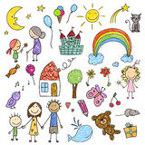 Collection of Children Drawings Stock Photos