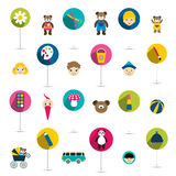 Collection of children flat icon, toys. Royalty Free Stock Image
