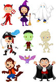 Collection children with Halloween costume Stock Image
