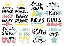 Collection of 13 children logo with handwriting Hello Little one, First Steps, Sweet, Baby shower, Big dream, Boys. Girls, The best Kid, Prince, Princess Royalty Free Stock Images