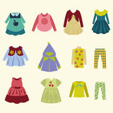Collection of  children's clothing - Illustration Royalty Free Stock Photos