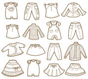 Collection of children's clothing Royalty Free Stock Photos