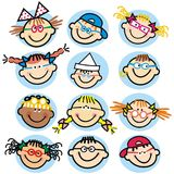 Collection of children`s faces, group of heads, vector icon, isolated portraits Royalty Free Stock Images