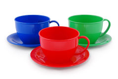 Collection of children's toys cups (Clipping path) Royalty Free Stock Photography