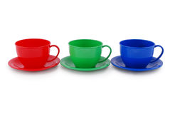 Collection of children's toys cups (Clipping path) Stock Image