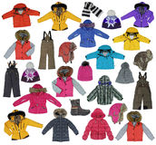 Collection of children\'s winter clothing Royalty Free Stock Photo