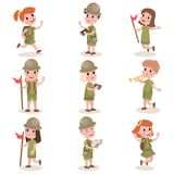 Collection of children scouts camping outfit, summer camp activities. Set of happy children scouts isolated on white background. Kids with camping outfit Stock Photography