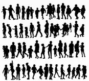 Collection of children silhouettes. Happy kids Royalty Free Stock Photography