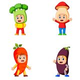 The collection of the children using the healty vegetables costume with different variant stock illustration