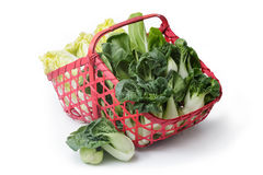 Collection chinese cabbages in red basket isolated on a white ba Royalty Free Stock Photo