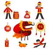 Collection of Chinese New Year decoration elements, boy in traditional costume, candle, dragon, lucky bag, tangerine. Vector Illustration isolated on a white stock illustration