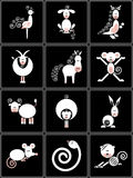 Collection of chinese signs of the zodiac. Set of white chinese zodiacs on the black background Stock Photos