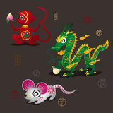 Chinese Zodiac Mascots: Monkey, Dragon and Rat Royalty Free Stock Image