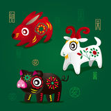Chinese Zodiac Mascots: Rabbit, Ram and Pig Stock Photos