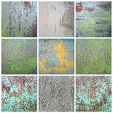Collection chipped paint on rusty metal surface. Chipped paint on rusty metal surface. Collection abstract variegated grunge background Stock Image