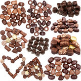 Collection of chocolate candies pictures Stock Image