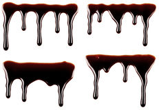 Collection of chocolate drips. Leaks Stock Images