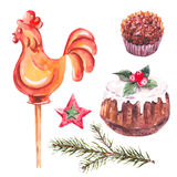 Collection of chocolate, fir branches, rooster. Watercolor sweet Christmas collection of chocolate, fir branches, rooster lollipop on stick, traditional pudding Stock Photos